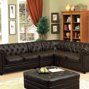 CM6270BR-4pc 4 pc stanford ii brown faux leather sectional sofa tufted backs