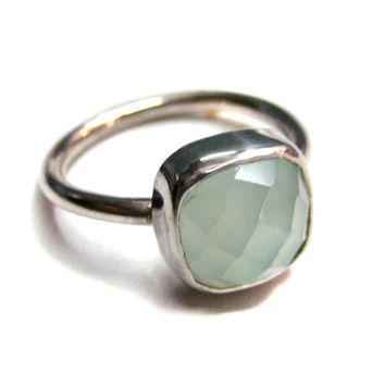 925 Sterling Silver Aqua Chalcedony Gemstone Ring Fine Quality jewelery Chekker cut Faceted Cushion Shape Hand made Stackable gem stone Ring