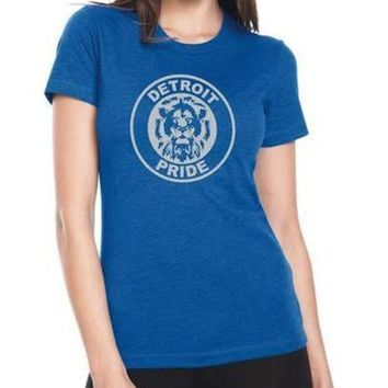 DCCKG8Q Detroit Football Pride - Women's - T-Shirt - Royal Blue