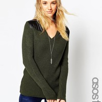 ASOS TALL Military Sweater In Rib With Satin Panels