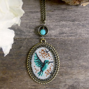 Hummingbird necklace, Cross stitch hummingbird pendant, Emerald mint green bird necklace, Embroidery bird pendant, Cross stitch jewelry