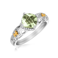 18K Yellow Gold and Sterling Silver Green Amethyst Fleur De Lis Designed Ring: Size 6