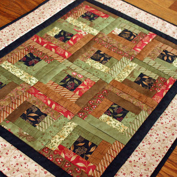 "Log Cabin Patchwork Doll Quilt for 18"" Doll like the American Girl Doll with Pillow"