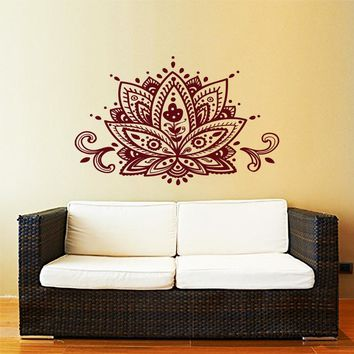 Lotus Flower Wall Decal Yoga Studio Vinyl Sticker Decals Mandala Ornament Moroccan Pattern Namaste Home Decor Boho Bohemian A012