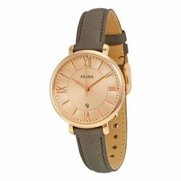 'Jacqueline' Brown Leather Fossil Watch For Women