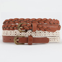 2 Piece Crochet/Braided Skinny Faux Leather Belts | Belts