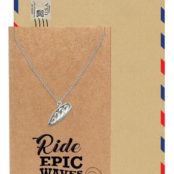 Jona Ride Wave Surfboard Pendant Silver Tone, Inspirational Jewelry and Greeting Card