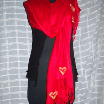 FALL SALE!! GORGEOUS Red Pashmina (100% Cashmere) with Embroidered Lace Hearts