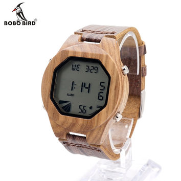 Design Bamboo Wooden LED Digital Watches With Black Wood Multifunction Calendar Watch