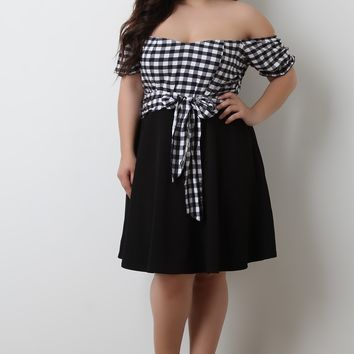 Off The Shoulder Plaid Waist Sash Skater Dress
