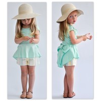 Girls Peplum Mint Top - Ryleigh Rue Clothing by MVB