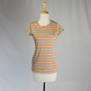 Vintage Rainbow Stripe T-Shirt by Vera 1970's Striped Blouse