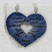 Heart Necklaces set of 3 Always Together saying Best Friend Jewelry Heart Puzzle Necklace Blue and Silver Made To Order