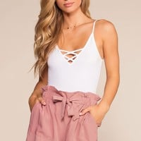 Caspien Paperbag High Waisted Shorts - Dusty Rose