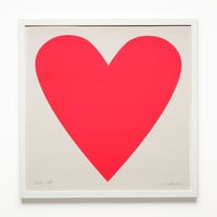 Framed Neon Pink Heart Poster Signed by Banquet Atelier | Unison