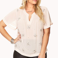 Glam Rhinestoned Flower Blouse