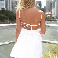 White Mini Dress with Tie Back and Frill Hem