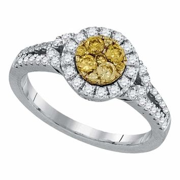 14kt White Gold Women's Round Natural Canary Yellow Diamond Cluster Ring 5/8 Cttw - FREE Shipping (US/CAN)