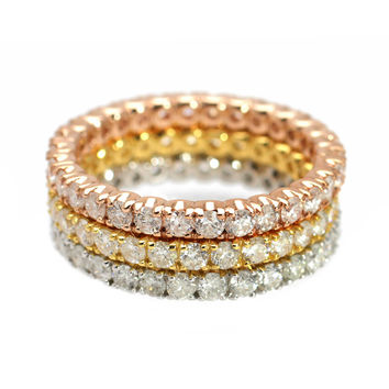 3.60ct Round Diamonds in 14K TriColor Gold 3-Set Full Eternity Band