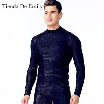 New Mens Rashguard Surf Sun Shirt Water Sports Body Tops Long Sleeve Wetsuit Sharkskin Design Professional Diving Tee Free Ship
