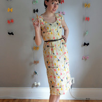 The Right Direction Dress. XS - 2X, Petite - Tall. Pink, Mustard & Charcoal on Cream. 1950s Vintage Inspired. Fall.