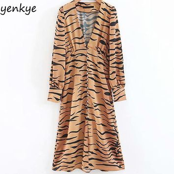 European Style Women Sexy Deep V Leopard Dress Female Long Sleeve Fashion A-line Midi Dress Chiffon vesitdo LJPZ8761