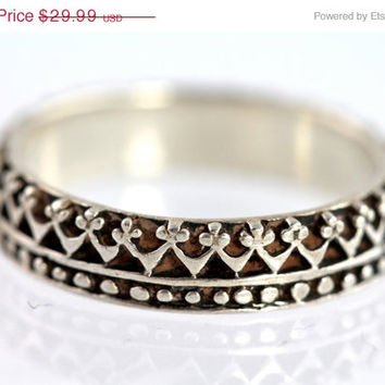 Vintage Sterling Silver Applique Filigree Stacking Band Ring Size 6 3/4