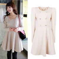 New Fashion Women Korean style Puffed Shoulders Cuite Long Sleeves Dress
