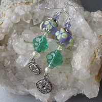 """My Secret Garden"" Artisan Lampwork Art Glass & Swarovski Crystal Sterling Silver Earrings, ""Deco Lime Blossoms"" #114"
