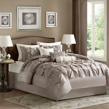 Laurel Comforter Set, King, Taupe