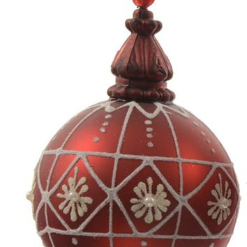 "Alpine Chic Red with White Decorative Geometric Design Glass Christmas Ball Ornament 3.25"" (80mm)"