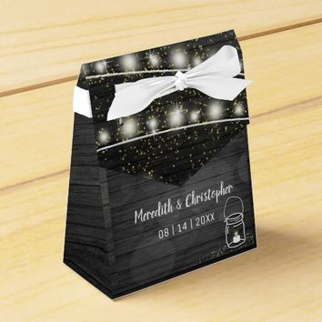 Rustic Black Wood String Lights Mason Jar Wedding Favor Box