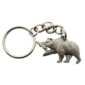 Brown Bear and Salmon Keychain ~ Antiqued Pewter ~ Keychain