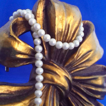 Faux Pearl Necklace 1980s Vintage Preloved Bridal Special Gift White Cream Silver Wedding Bridesmaids Fashion Jewelry