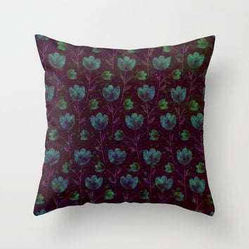 Deep Floral Pattern Throw Pillow by Colorful Art
