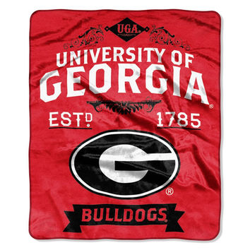 "Georgia Bulldogs 50""x60"" Royal Plush Raschel Throw Blanket -  Label Design"