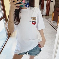 Burberry Hot Fashion Couple Lettering Print Casual Top Short Sleeve T-Shirt