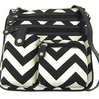 Small Chevron Print Hipster Messenger Bag Cross Body Purse (Black)