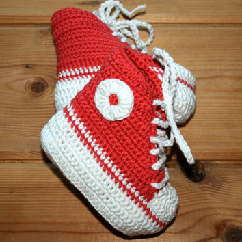 Crochet baby booties newborn 0 to 3 month Funky cotton baby sneakers Coral Handmade crochet babies footwear Babies clothing Baby shower gift