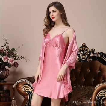 2017 summer women Silk Satin Bride Bridesmaid Robe Floral Bathrobe Short Kimono pajamas Night Robe Bath Robe Fashion Dressing Go