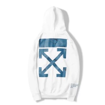 Off White New Fashion Letter Arrow Print Sports Leisure Hooded Long Sleeve Sweater White