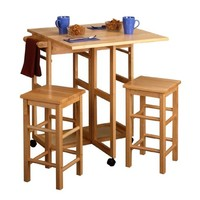 Winsome 3 Piece Drop Leaf Breakfast Bar with Stools