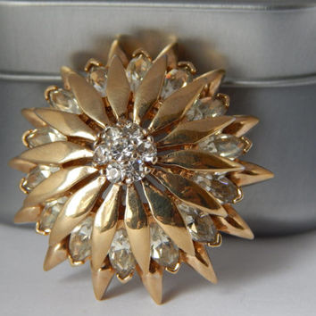 Fine Vintage Panetta Flower Pendant / Brooch With Clear Crystal - Panetta Brooch - Panetta Jewelry - Designer Jewelry - Panetta Pin