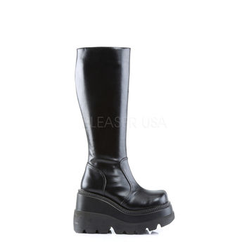 Demonia Shaker 100 Black Smooth Mid Calf Platform Gothic Boot