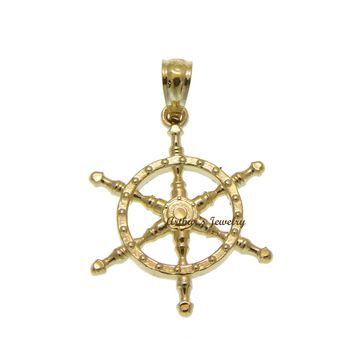 SOLID 14K YELLOW GOLD 2 SIDED DIAMOND CUT SHIP WHEEL CHARM PENDENT 15.65MM