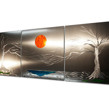 Trees, Lake, Sun Wall Sculpture 'Lavish Coast' - 62x24 in. - Large Aluminum Landscape Artwork - Metal Art Decor - Abstract Nature Décor