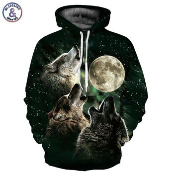 Mr.1991INC Wolf Hoodies Men/Women 3d Sweatshirts With Hat Print 3 Wolf Howling To The Moon Thin Hooded Hoodies Hoody YXQL315