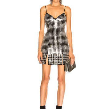 David Koma Metal Disc Dress in Black & Silver | FWRD