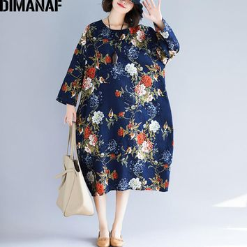 DIMANAF Women Dresses Female Clothes Vintage Plus Size Linen Print Floral Ladies Elegant Vestidos Loose Long Dress 2018 Autumn