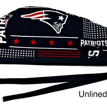 Men's Unlined Surgical Scrub Hat Cap in New England Patriots Squares